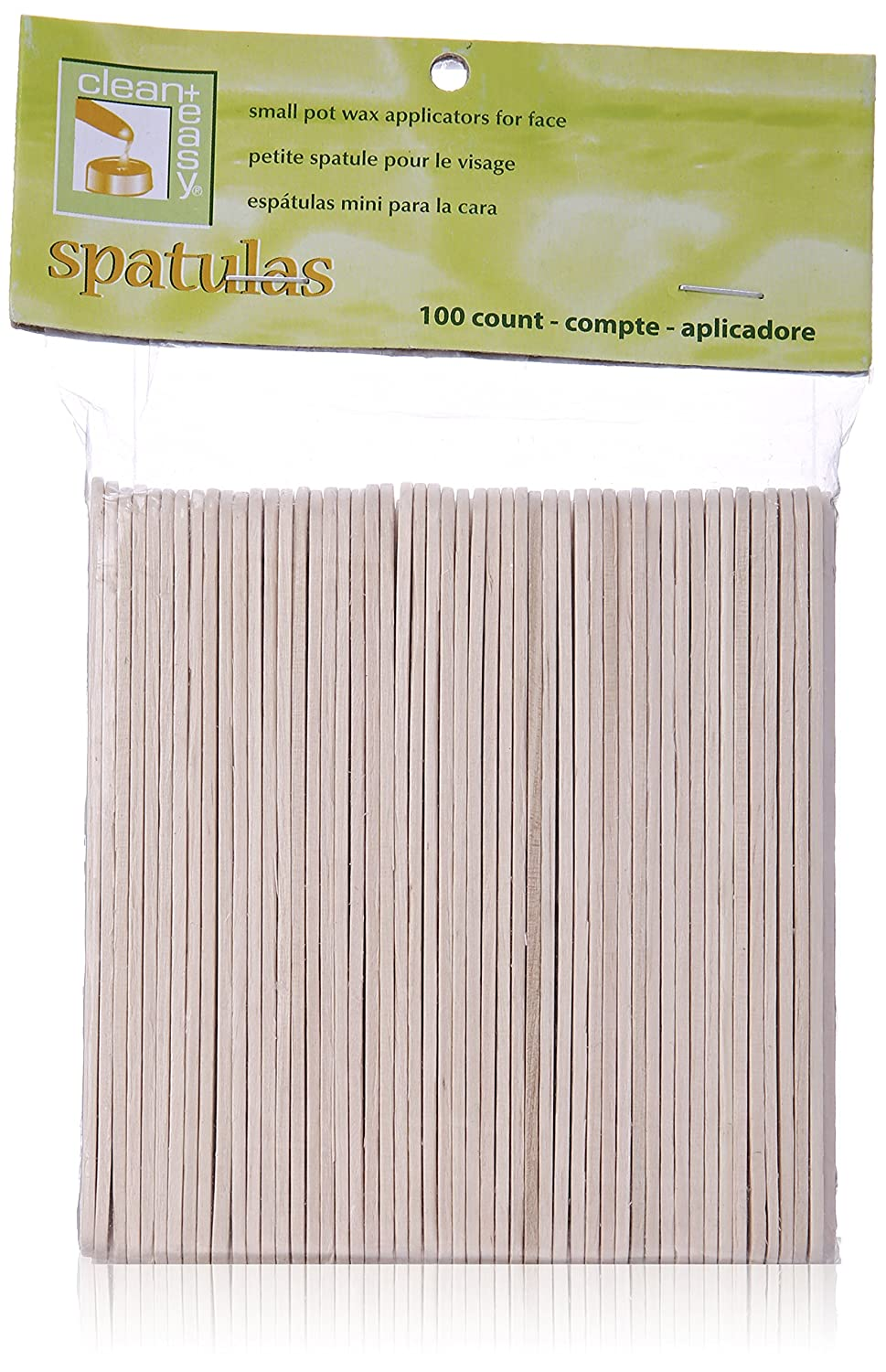 Clean Plus Easy Face Wood Applicator Spatula, Small, 100 Count AB-41102