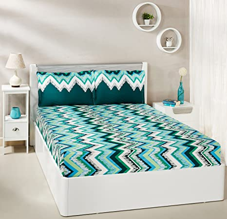 91f31c25ded Amazon Brand - Solimo Abstract Waves 144 TC 100% Cotton Double Bedsheet  with 2 Pillow Covers