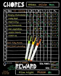 "Magnetic Chore Chart for Kids - Reward Chart for Kids at Home + Liquid Chalk Markers for Blackboard, 11x14"" Magnetic Dry Erase Chalkboard Chore Chart Magnetic Chore Reward Chart by Travel Revealer"