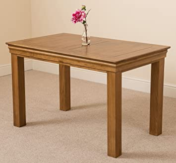 4 Person Small Oak Dining Table 4ft Solid Rustic Oak Wood Kitchen