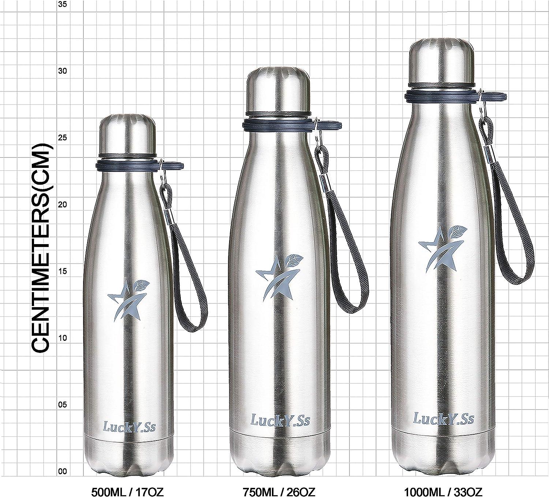 1000 ml 500 ml Acero plateado. 750 ml termo reutilizable para deportes viajes al aire libre 500 ml LuckY.Ss Botella de agua de acero inoxidable con aislamiento de doble pared