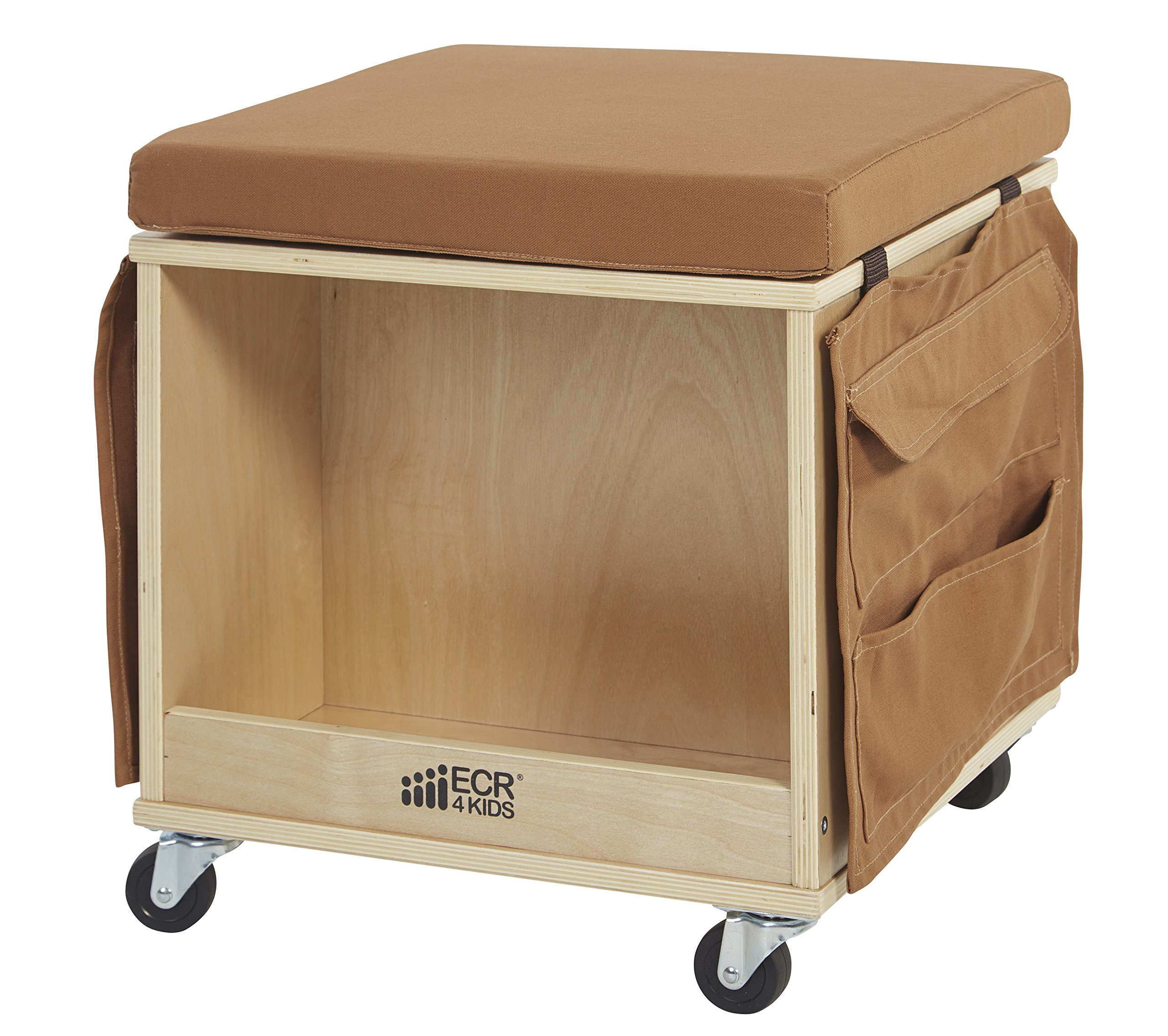 ECR4Kids Birch Hardwood and Canvas Mobile Teacher Stool with Storage