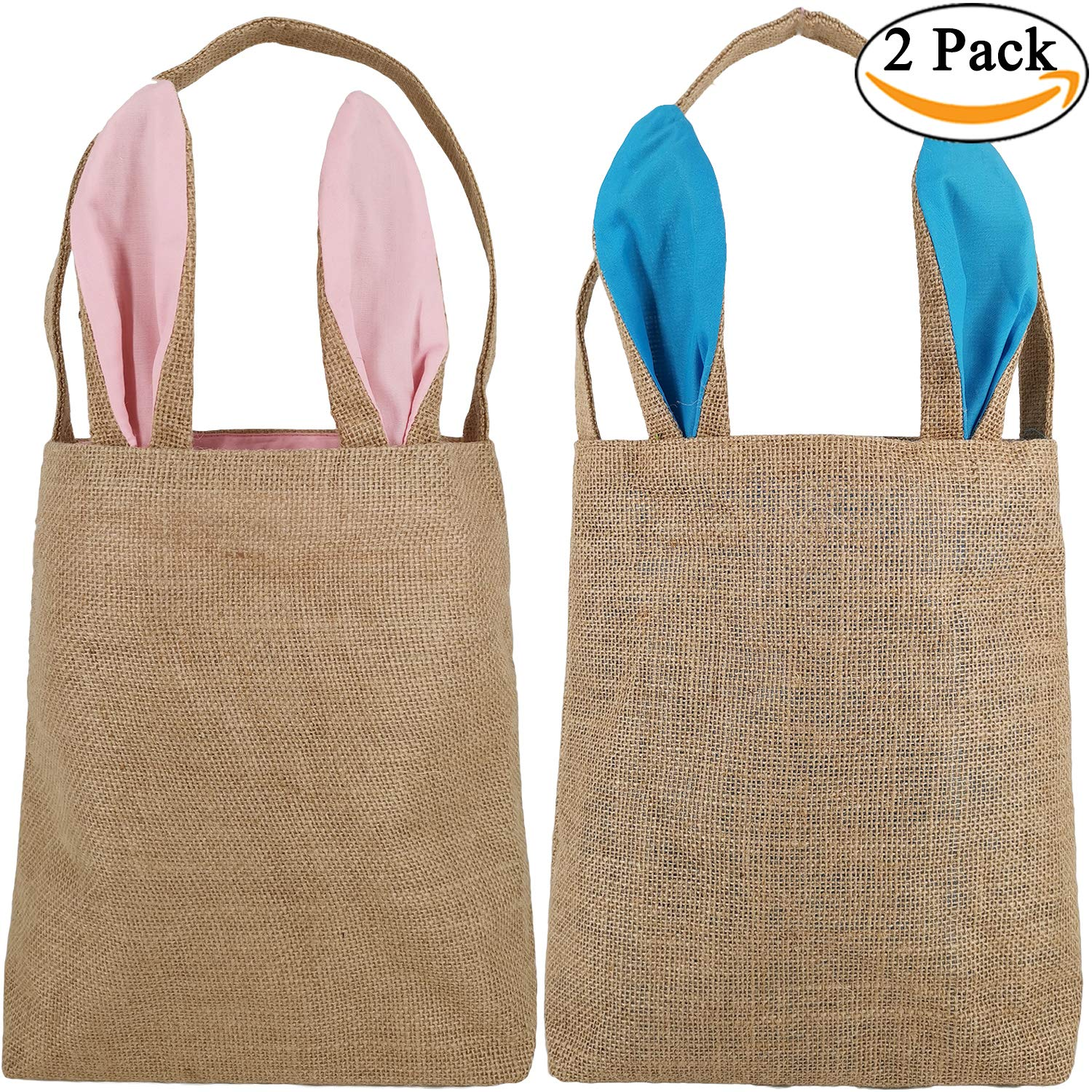 Easter Bunny Baskets for Kids with DIY Cross-Stitch Line, Personalized Bunny Ears Tote Bags Perfect for Easter to Carry Eggs Gifts (2 Pack, Pink + Blue) Y047A