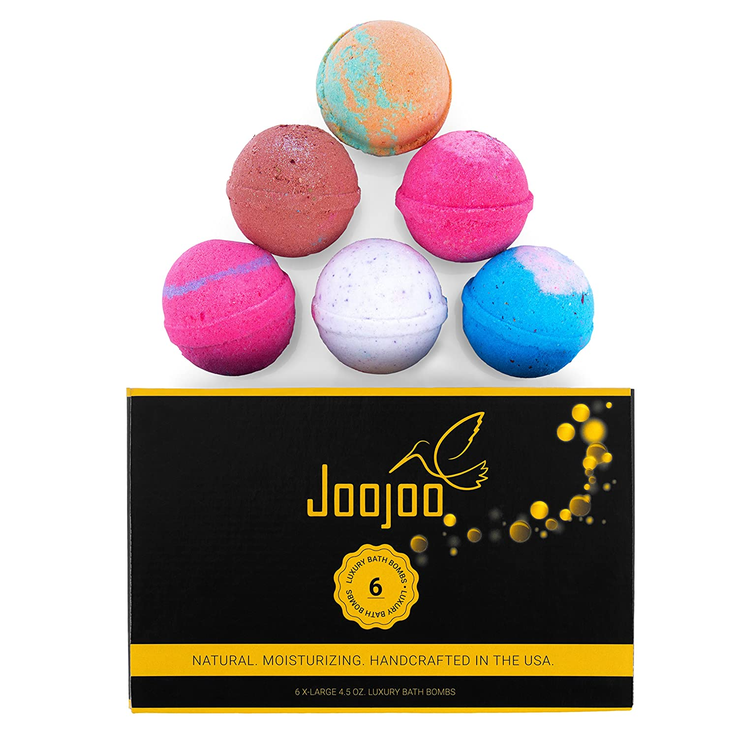 Joojoo Bath Bombs- SIX EXTRA LARGE 4.5 oz Ultra Lush Fizzy Bath Bombs Per Bath Bomb Kit-- Handmade In USA - Lavender, Moonlight & Roses, Cucumber Melon, Crazy Love, Petal Dance, Kiss Me Jence Life