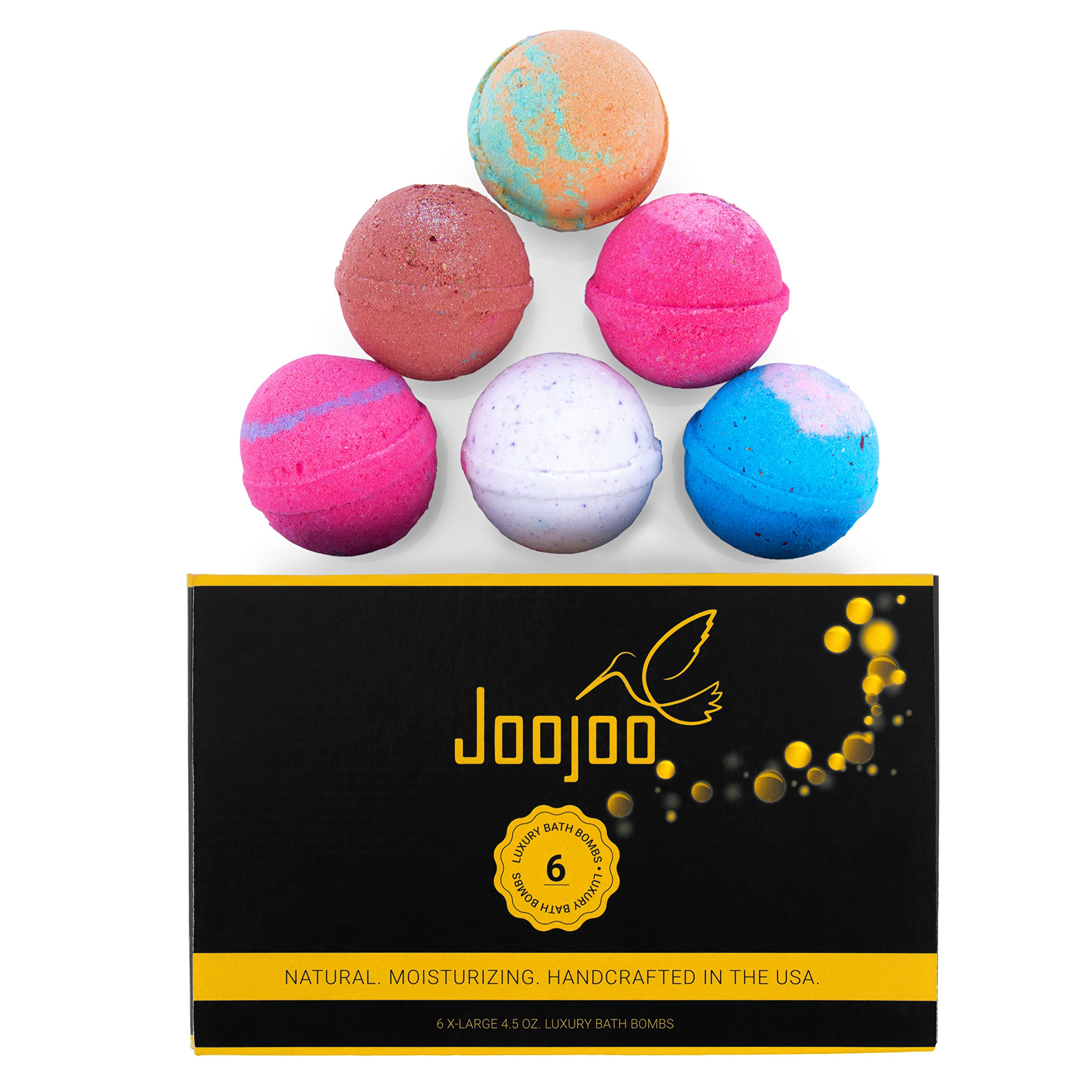Joojoo Bath Bombs - SIX EXTRA LARGE 4.5 oz Ultra Lush Fizzy Bath Bombs Per Bath Bomb Kit-- Handmade In USA - Lavender, Moonlight & Roses, Cucumber Melon, Crazy Love, Petal Dance, Kiss Me