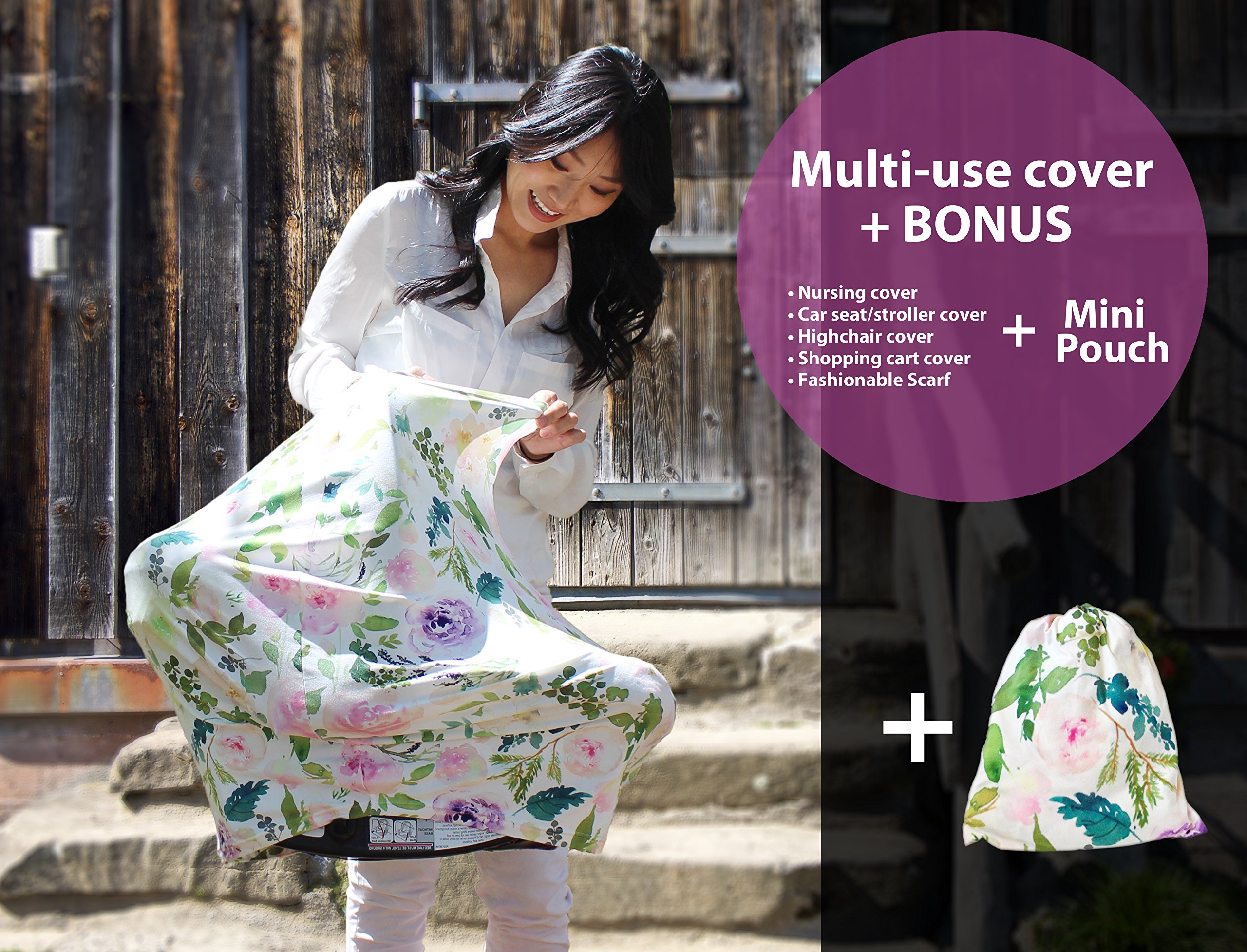 Premium Soft, Stretchy, and Spacious 4 in 1 Multi-Use Cover for Nursing, Baby Car Seat, Stroller, Scarf, and Shopping Cart - Best Gifts by Pobibaby (Allure) by Pobibaby (Image #7)