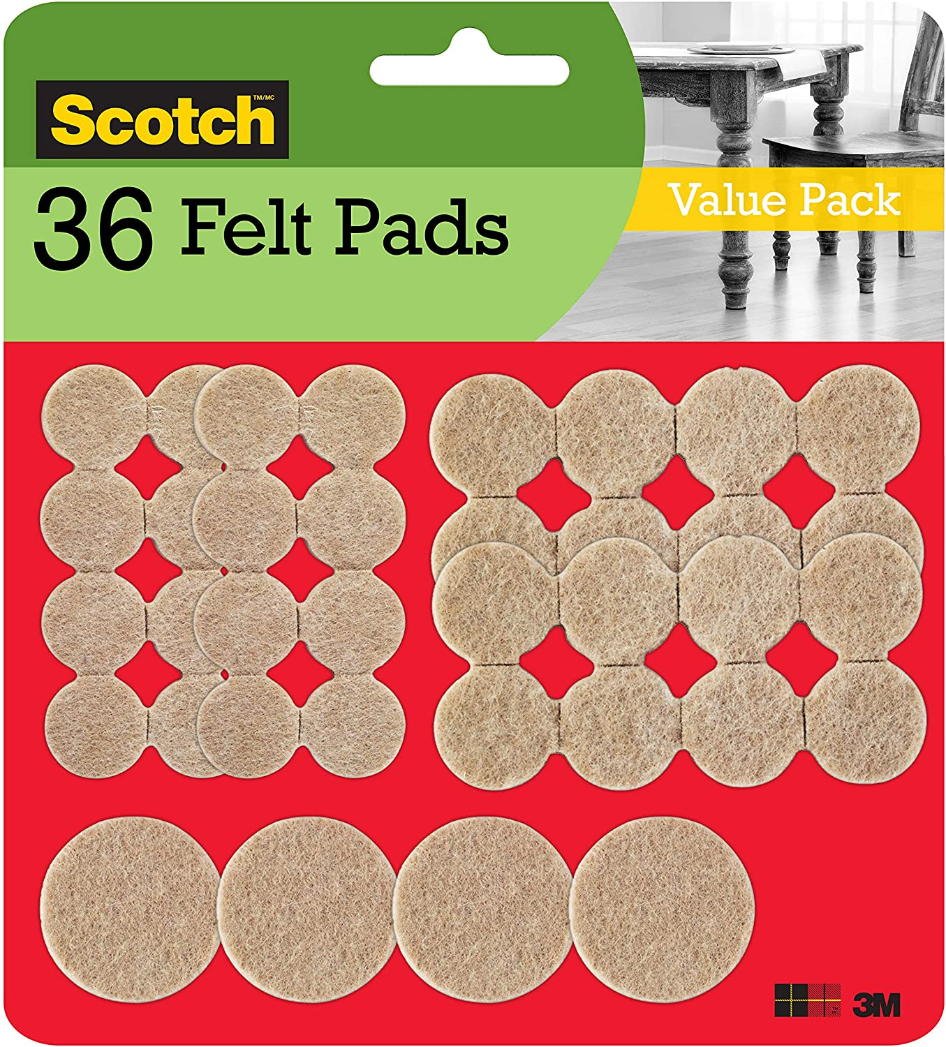 1 Beige 162 Pack Felt Pads Assorted Sizes Scotch Mounting Round Fastening /& Surface Protection SP845 Scotch Brand 3M 162 Pack for Protecting Linoleum Floors