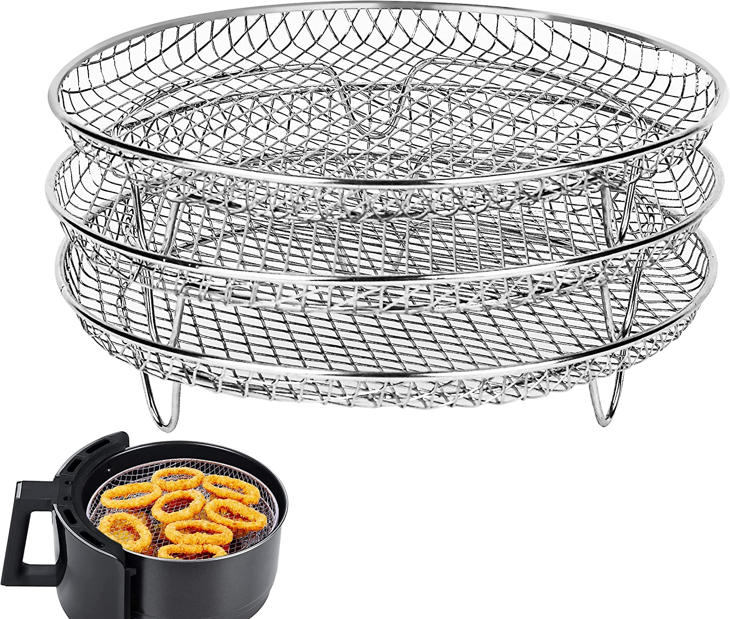 Air Fryer Rack for Gowise Ninjia Phillips Cozyna Airfryer,Three Stackable Dehydrator Racks Fit all 4.2QT - 5.8QT Air fryer,Air Fryer Accessories