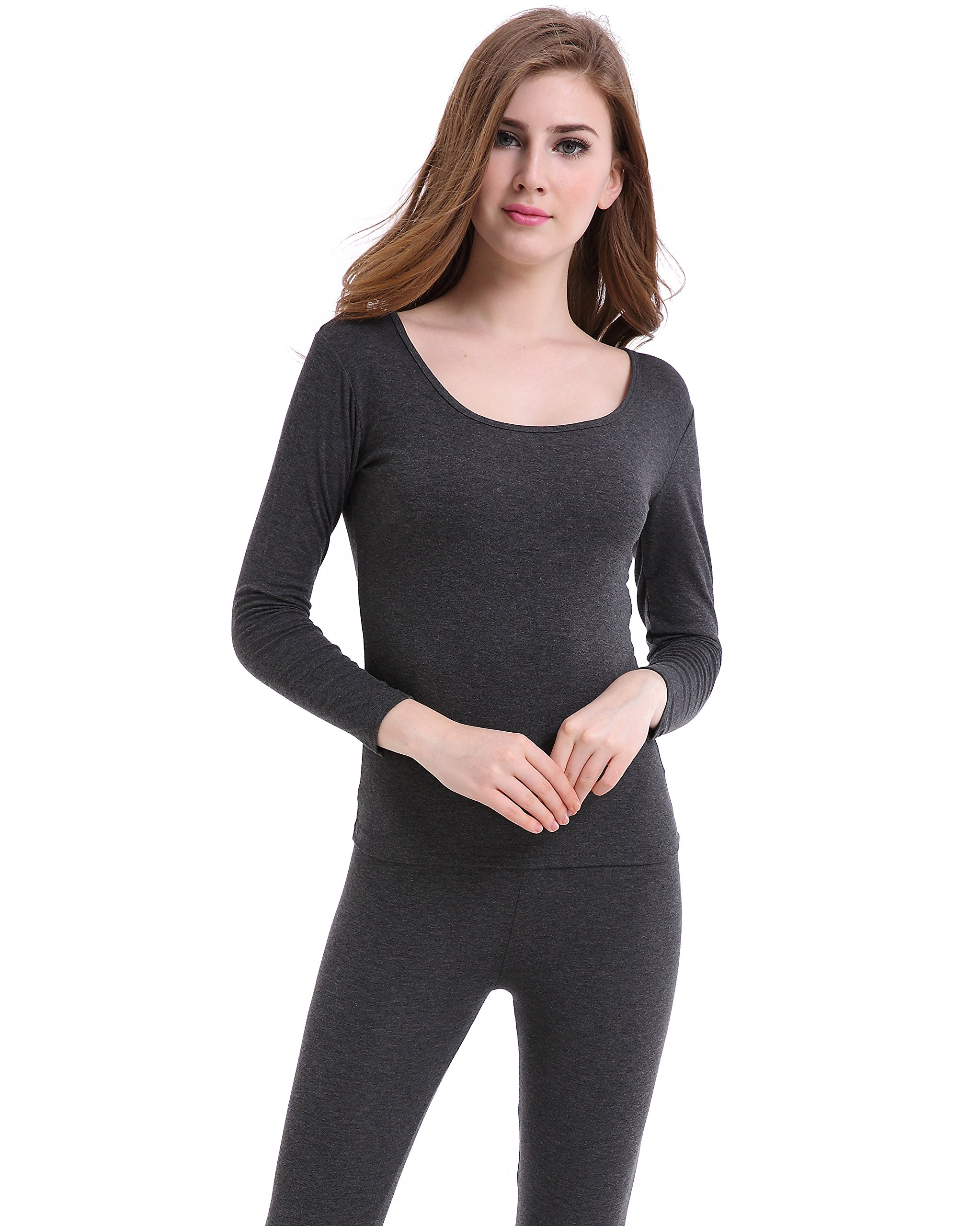 Woman Long Johns Crew Neck Lightweight Base Layer Thin Thermal Underwear Wicking by CnlanRow
