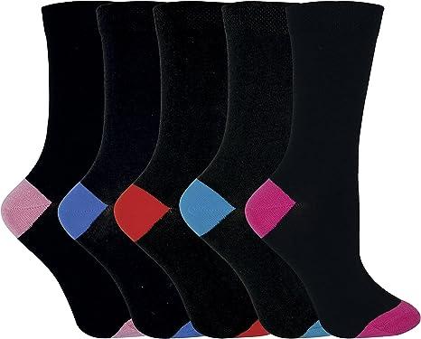 Sock Snob - 5 pares negros algodon colores estampados calcetines ...