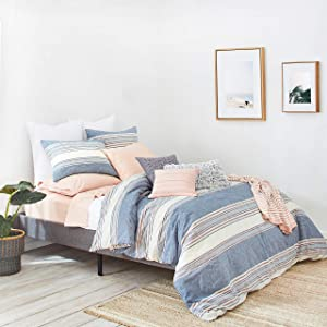 Splendid Home Tuscan Stripe Comforter Set, King, Navy/Multi
