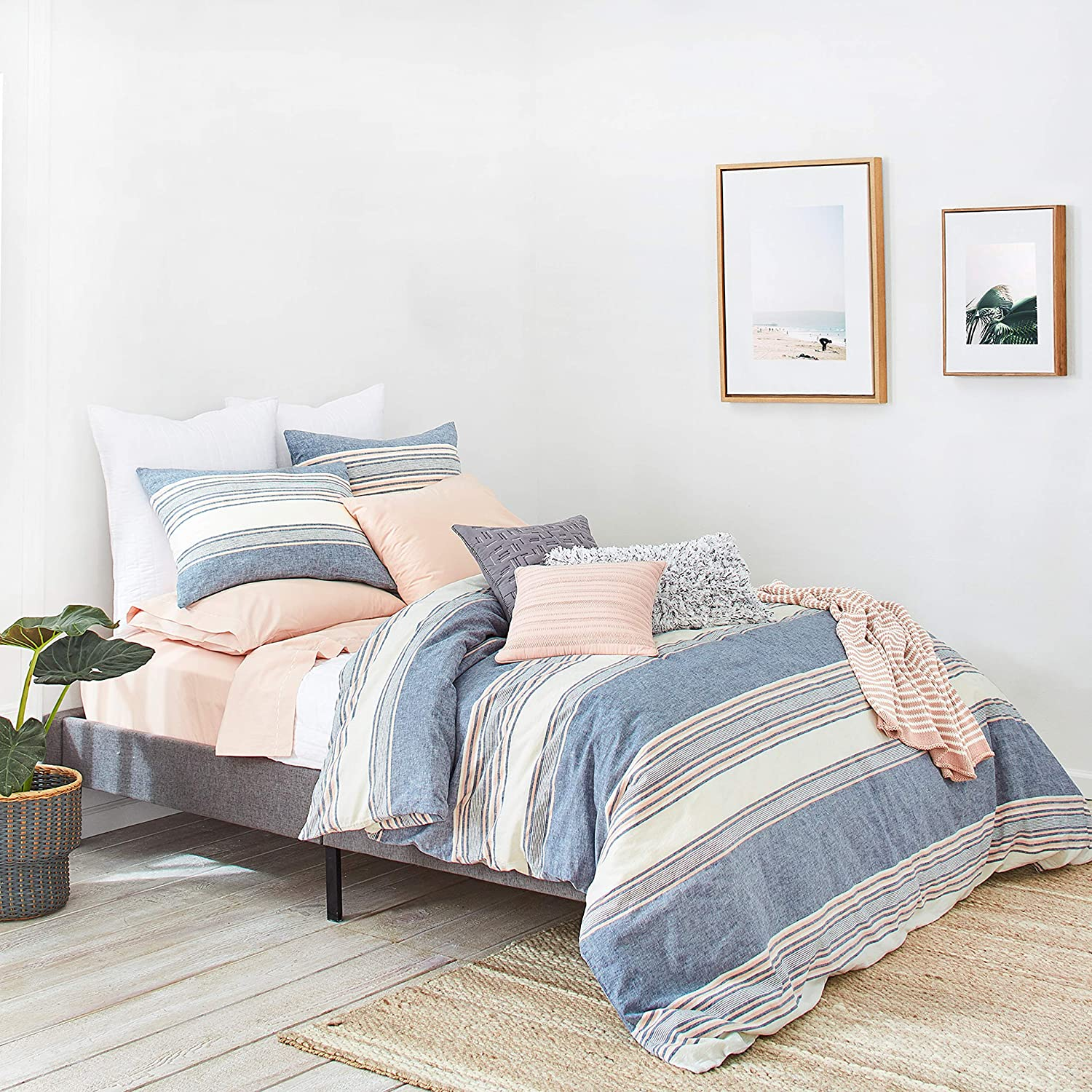 Splendid Home Tuscan Stripe Duvet Set, Full/Queen, Navy/Multi