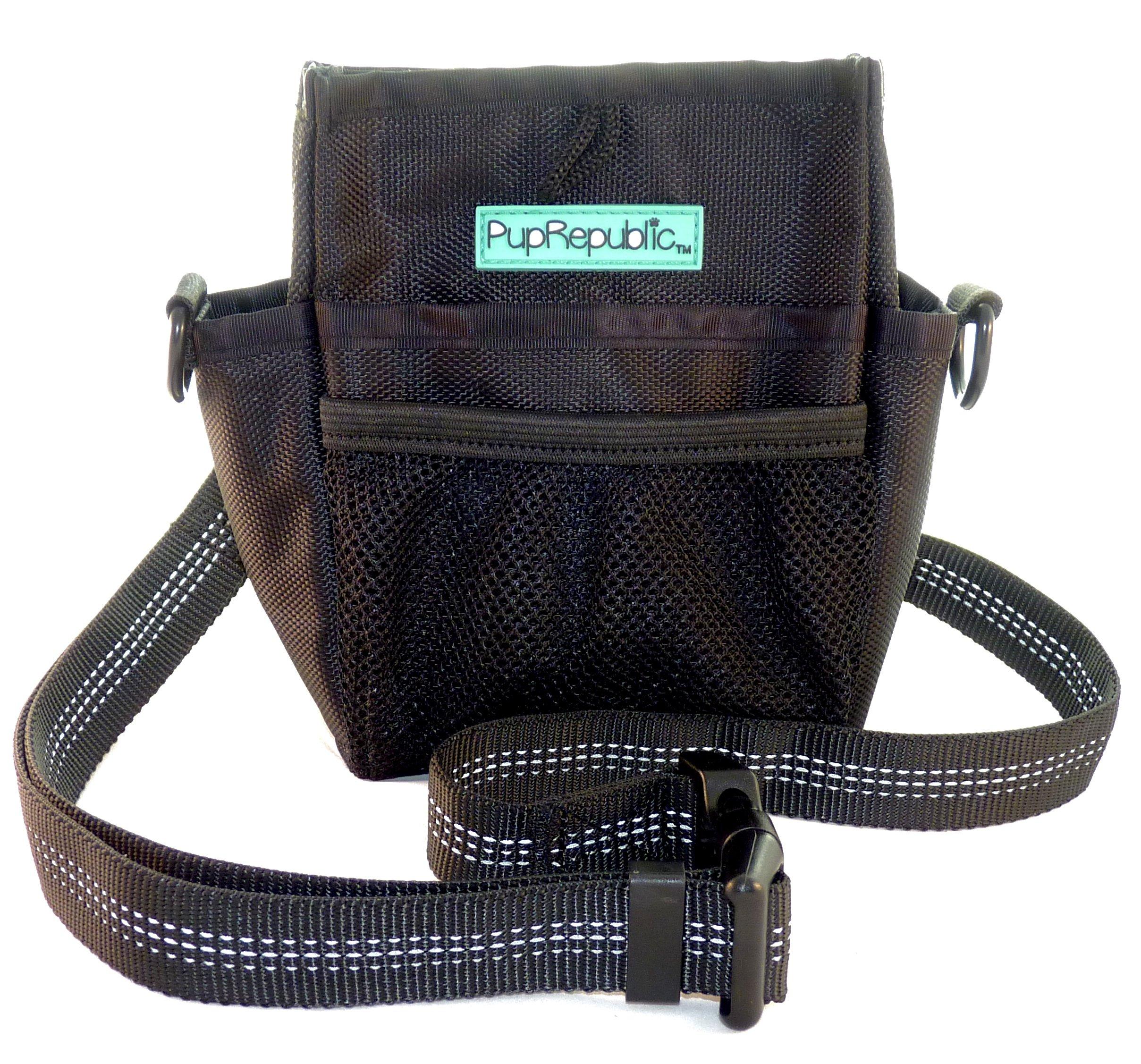 PupRepublic Premium Dog Training Treat Pouch with Poop Bag Dispenser,Multiple Pockets,Strong Magnetic Closure,Adjustable Belt or Shoulder Strap.