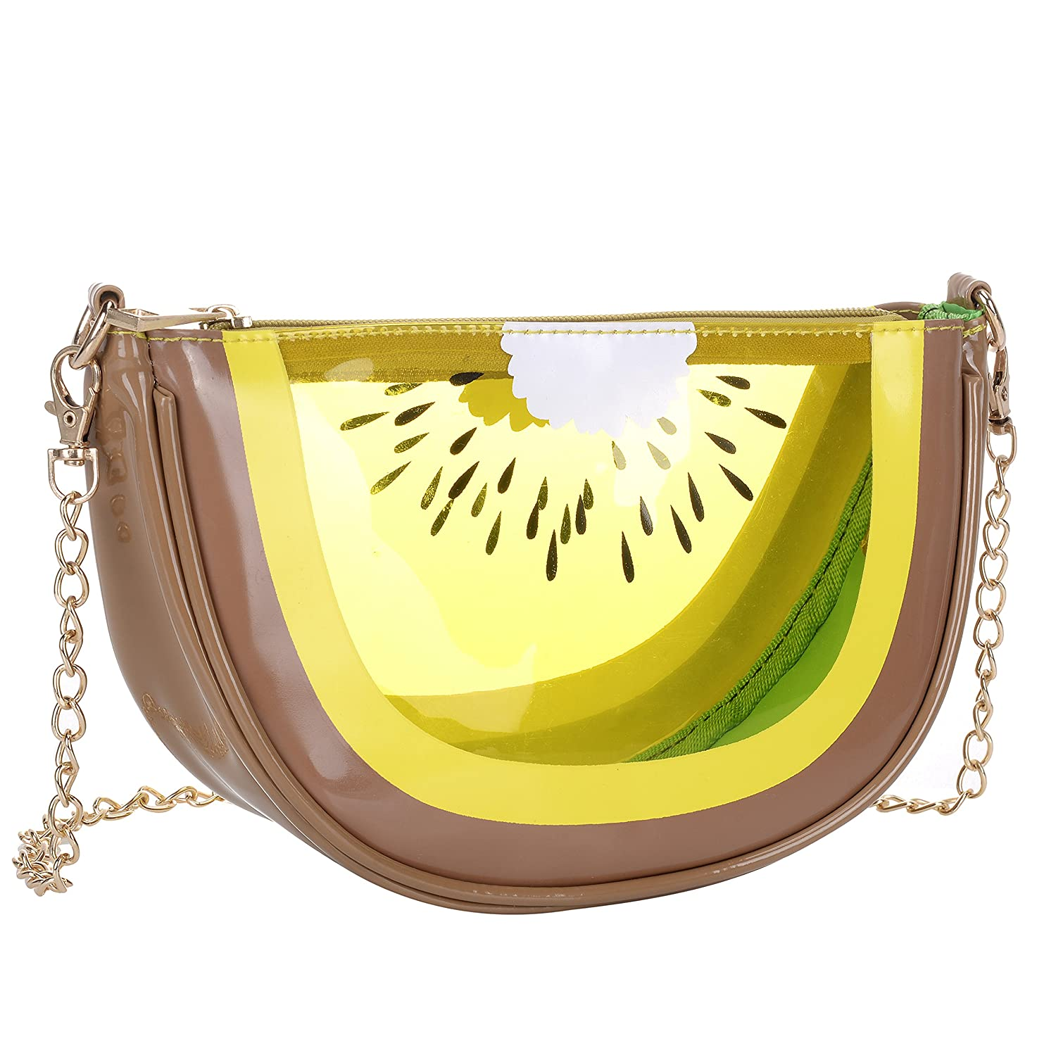 eb7471db1bc3 QZUnique Women's PU & Transparent Medium Cute Fruit Style Handbag Purse  Shoulder Bag