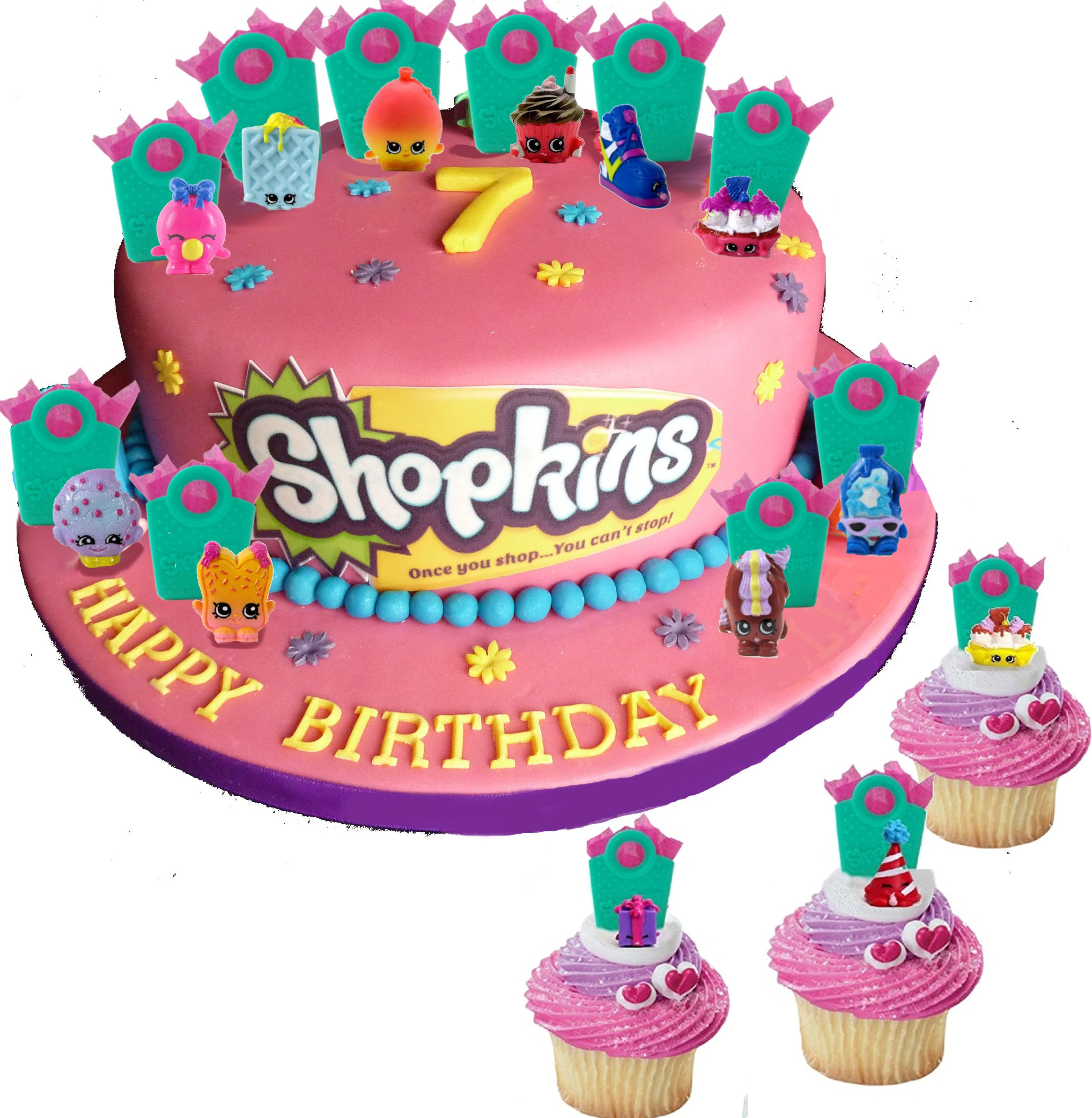 Shopkins Party Cupcake Cake Toppers With Surprise Shopkins Figure Hidden Inside Shopping Bags And Shopkins Tattoos Set Of 12