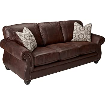 Sofa Bed Distressed Brown Leather Effect