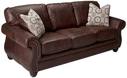 Benchcraft - Breville Traditional Sofa Sleeper - Queen Size Mattress and  Throw Pillows Included - Espresso Brown