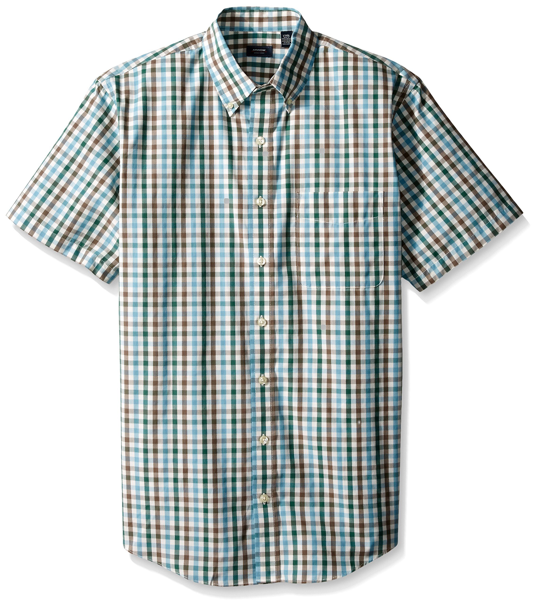 Arrow Men's Big-Tall Short Sleeve Hamilton Poplin Multi Gingham Shirt, Smoke Pine, 2X-Large Big