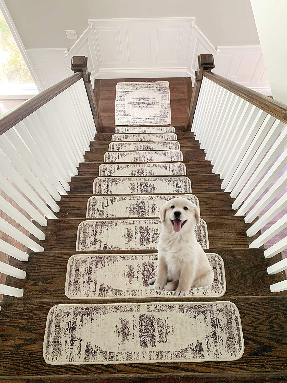 09x28 Printed Design Vibrant and Soft Stair Treads Pack of 13 | Maroon Benissimo Mirage Collection Modern