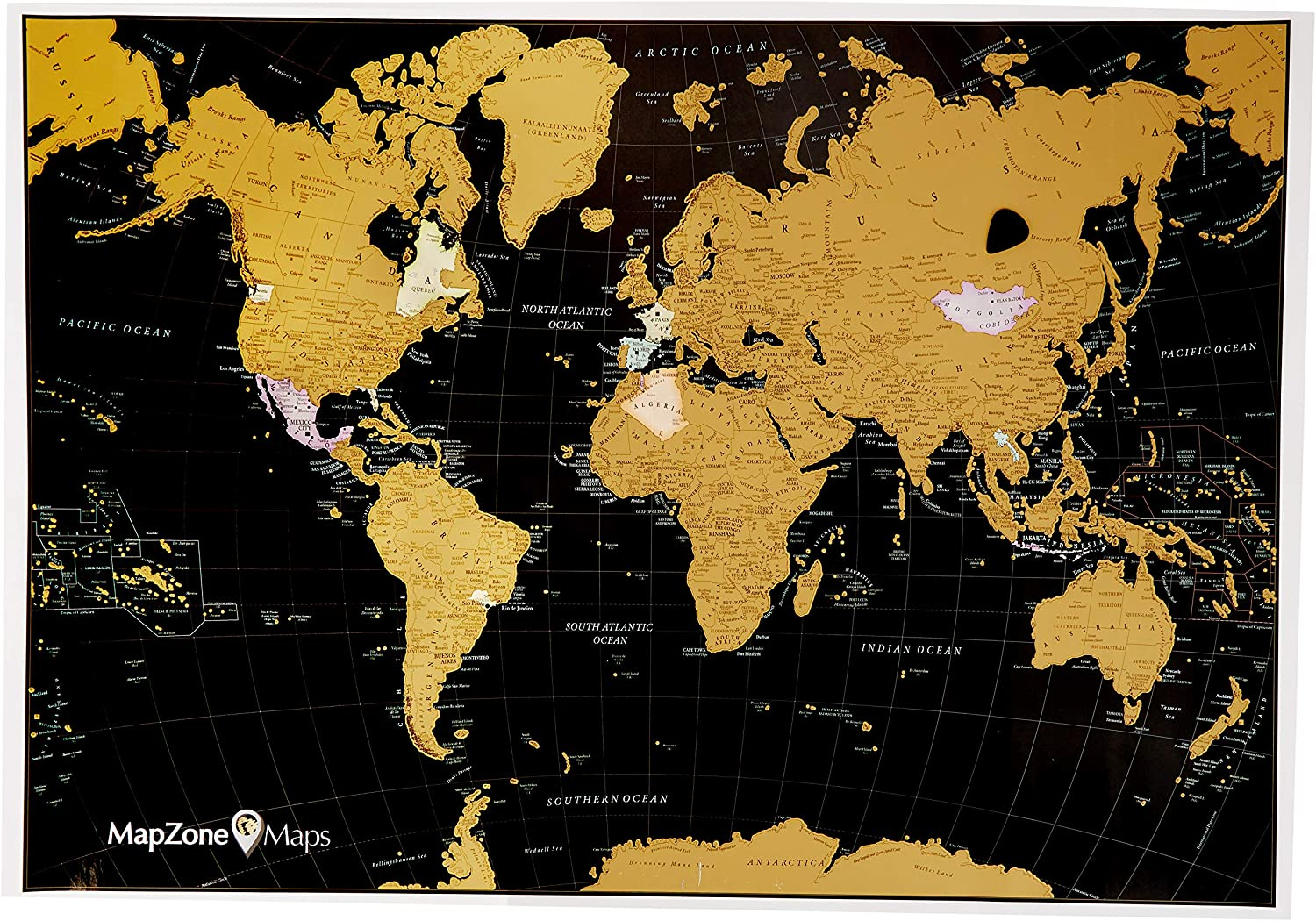 Scratch off Tool Included White and Gold with USA Scratch off World Travel Map MapZone Maps