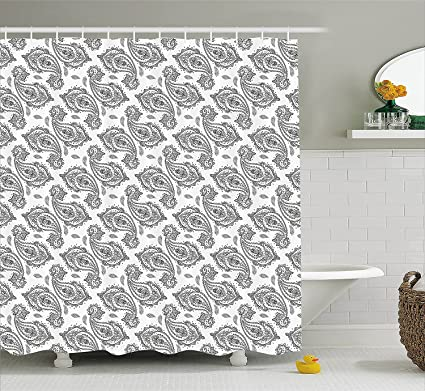 Mirryderr Paisley Shower Curtain By Ctco Modern Tribal Inspired Design With Flower And Ornamental Shaped