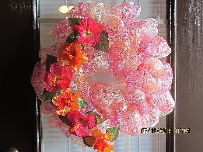 Bon Hawaiian Wreath, Flower Door Wreath, Tropical Wreath, Wall Decor, Door  Decor,