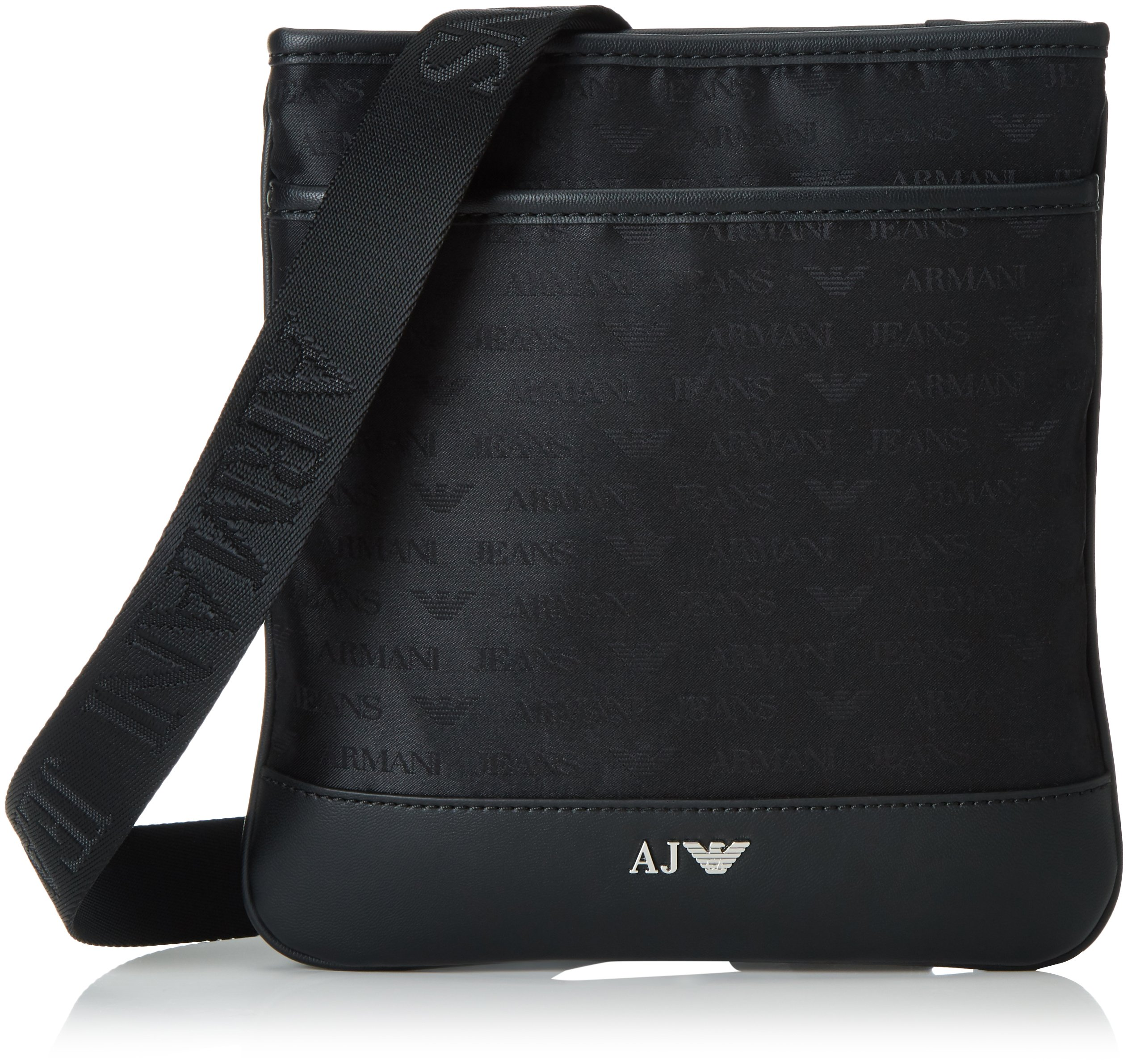 Armani Exchange Men's All Over Logo Zip Shoudler Bag with I-Pad Mini Compartment, Black