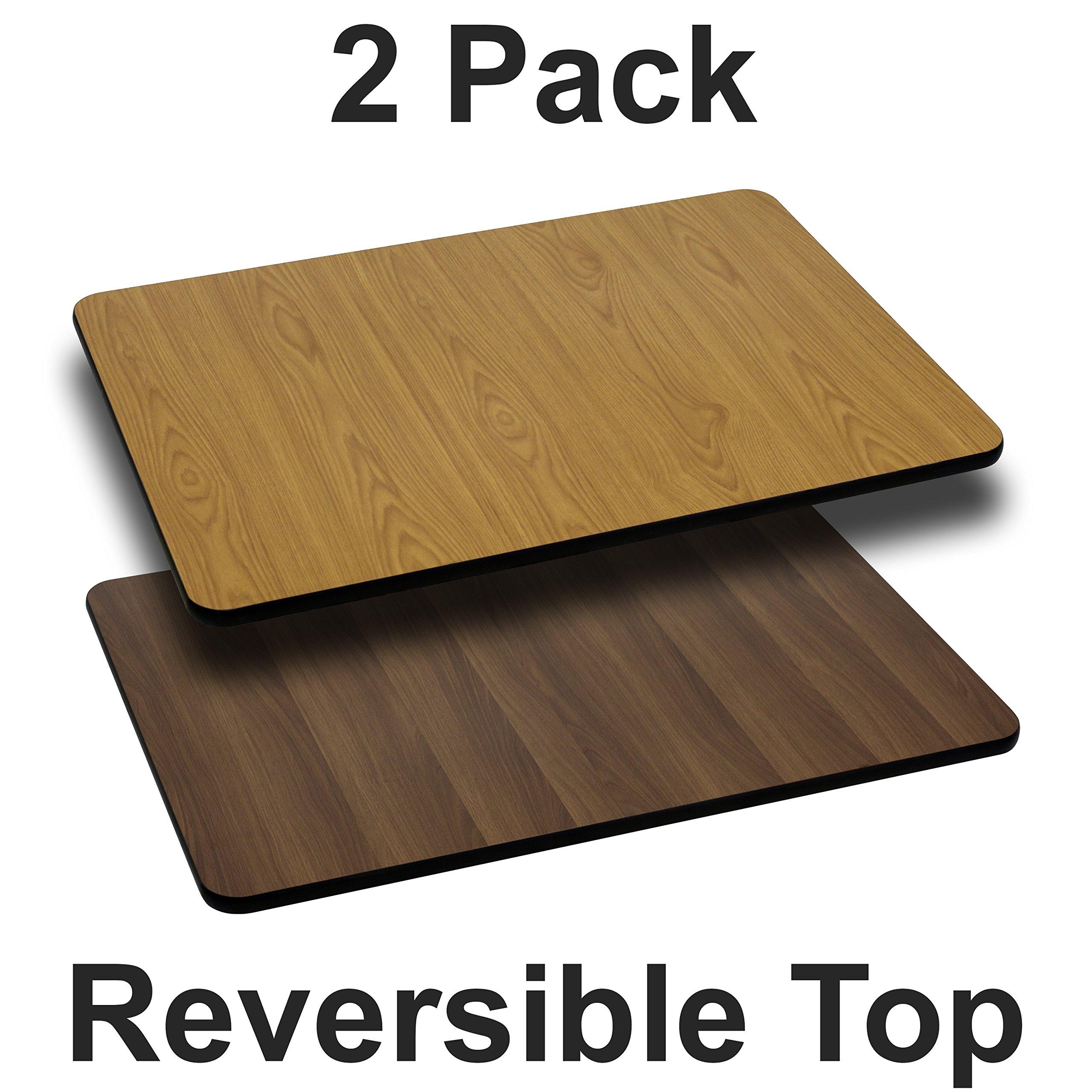 Flash Furniture 2-XU-WNT-2442-GG 24x42 NA/WA Reversible Laminate Tops, 2 Pack, Natural/Walnut