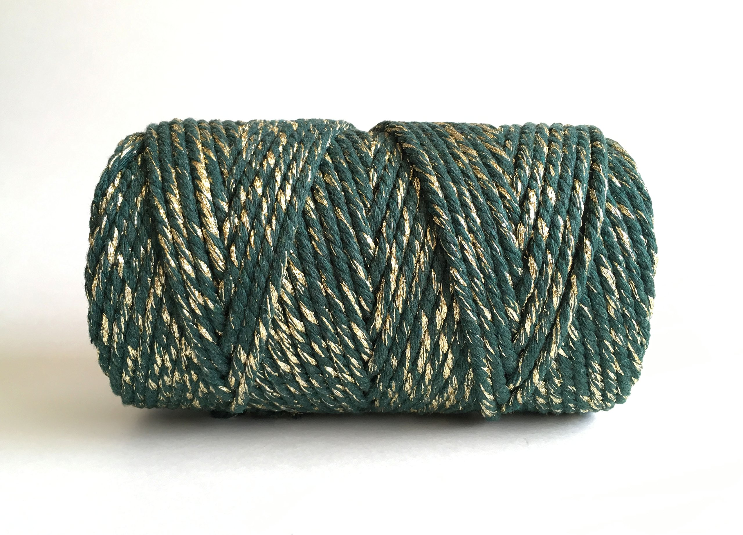 Emerald Green and Gold Macrame Cord / 4mm 3 Strand Cotton Sparkle Fiber Art Rope by Rock Mountain Co (Image #3)