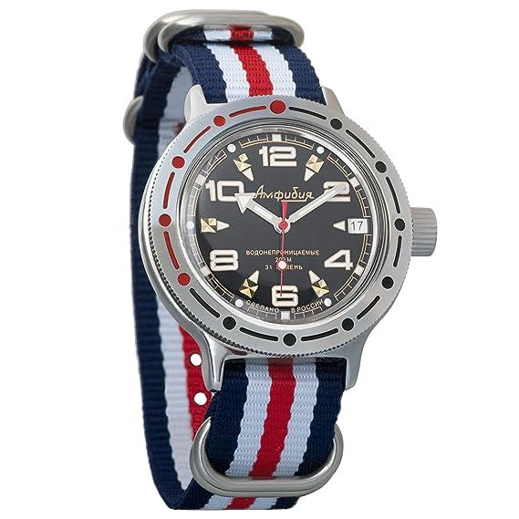 Vostok ruso mecánico K-35 # 350501 KOMANDIRSKIE reloj de pulsera 2415.12 correa de nailon