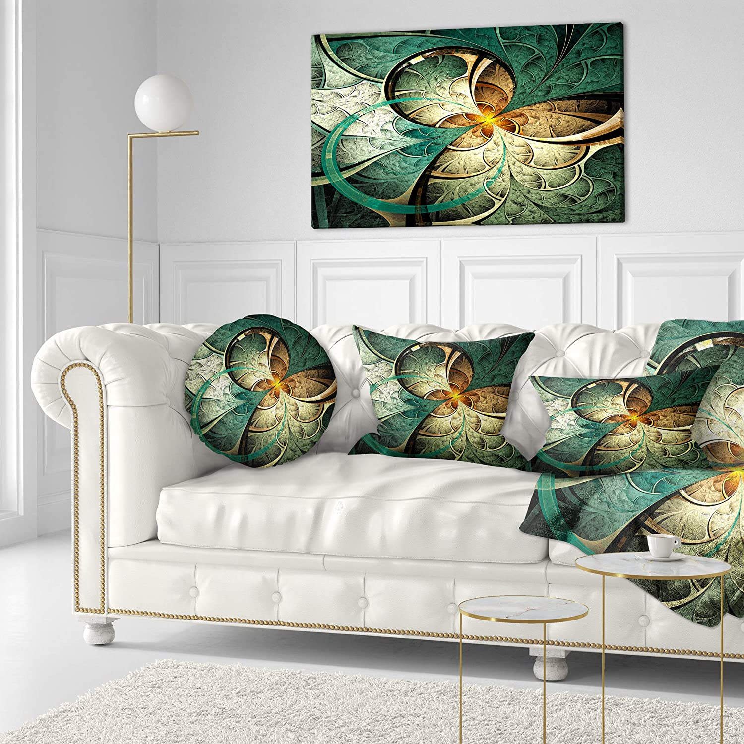 Sofa Throw Pillow 16 Inches Designart CU16487-16-16-C Dark Yellow Green Fractal Flower Abstract Round Cushion Cover for Living Room