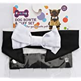 A Party Dog Dog bowtie collar and cuff set formal dog costume dress up wedding Ring Bearer Halloween