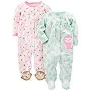 Simple Joys by Carter's Baby Girls' 2-Pack Cotton Footed Sleep and Play, Owl/Monkey, 6-9 Months