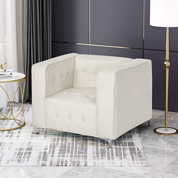 Amazon.com: Laura Modern Glam Leather Cube Club Chair, White ...
