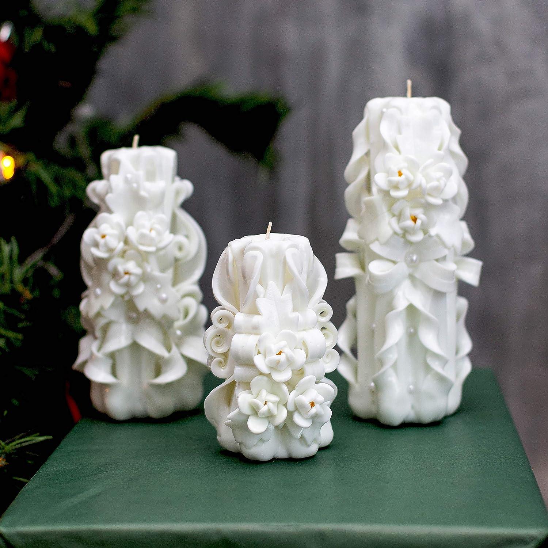 Vela tallada en blanco para regalo único y decoración de bodas - regalo inusual para el Día de la Madre y Navidad