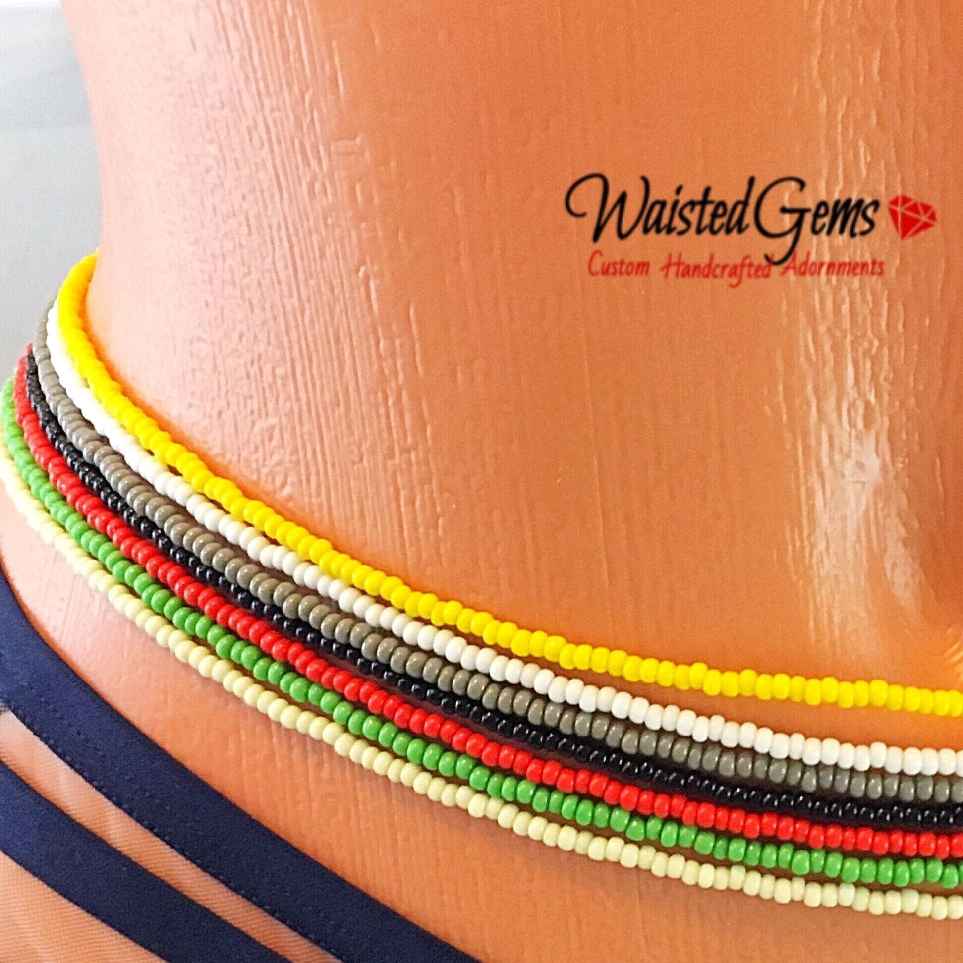 Color Choice Single Strand Waist Beads, Waistbeads, African Waist Beads, Bikini Set, belly chain, Summer Jewelry, Beach Wear, Plus Size, crop tops, Belly Button Ring with Chain, Best Selling Item