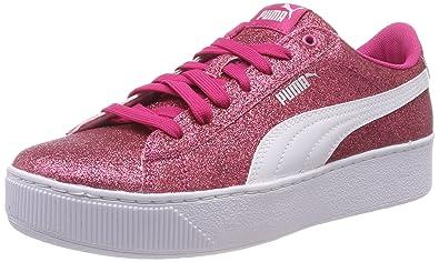 Puma Mädchen Vikky Platform Glitz JR Sneaker Pink (Beetroot Purple White  Silver 01) fb6c0bf81