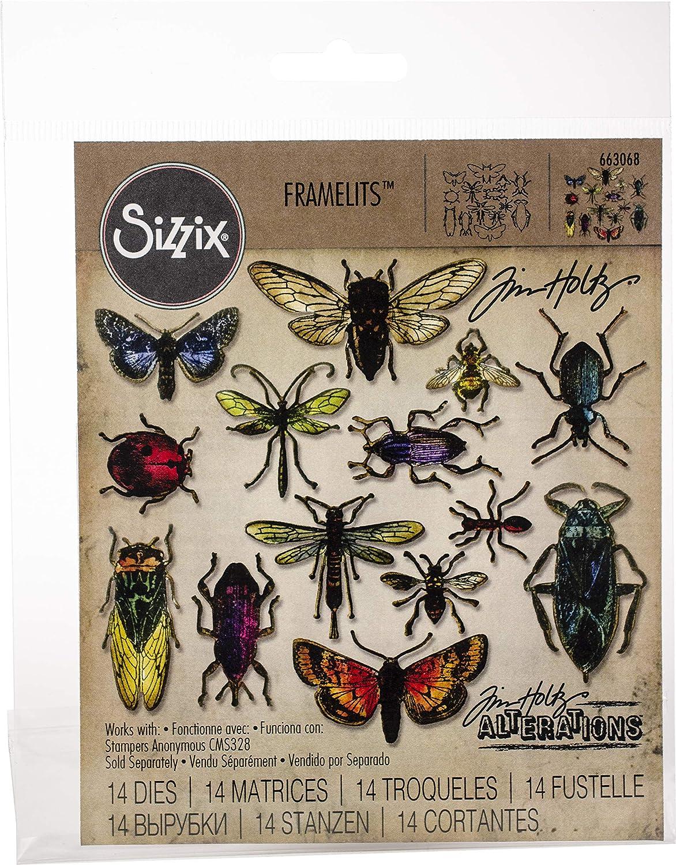 Sizzix Framelits Die Set Entomology by Tim Holtz (14-Pack), Multicolor