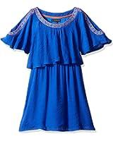 My Michelle Big Girls' Cold Shoulder Pop Over Dress With Embroidered Neckline Trim