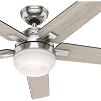 """Hunter 54"""" Brushed Nickel Contemporary Ceiling Fan with Cased White LED Light Kit and Remote Control (Certified Refurbished)"""