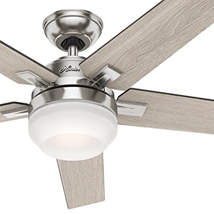 Hunter 54 brushed nickel contemporary ceiling fan with cased white hunter 54quot brushed nickel contemporary ceiling fan with cased white led light kit and remote mozeypictures Image collections