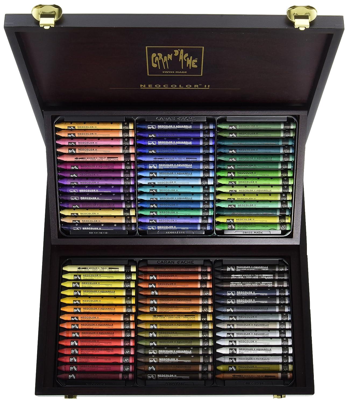 Caran DAche Neocolore II Watersoluble Wax Pastels 84 Wooden Box