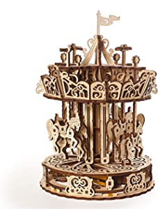 UGEARS Carousel Wooden Mechanical 3D Model, Self-Assembling Craft DIY Kit, Adult and Teens Puzzle Gift