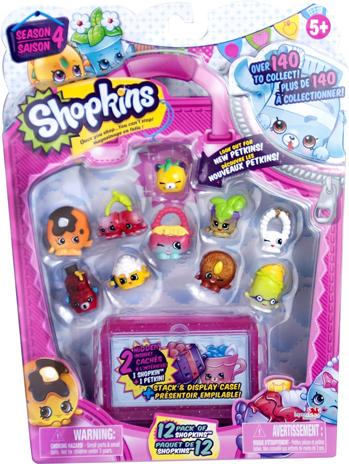 Brand New Shopkins Season 4-12 Pack with Petkins and Stackable Display Case