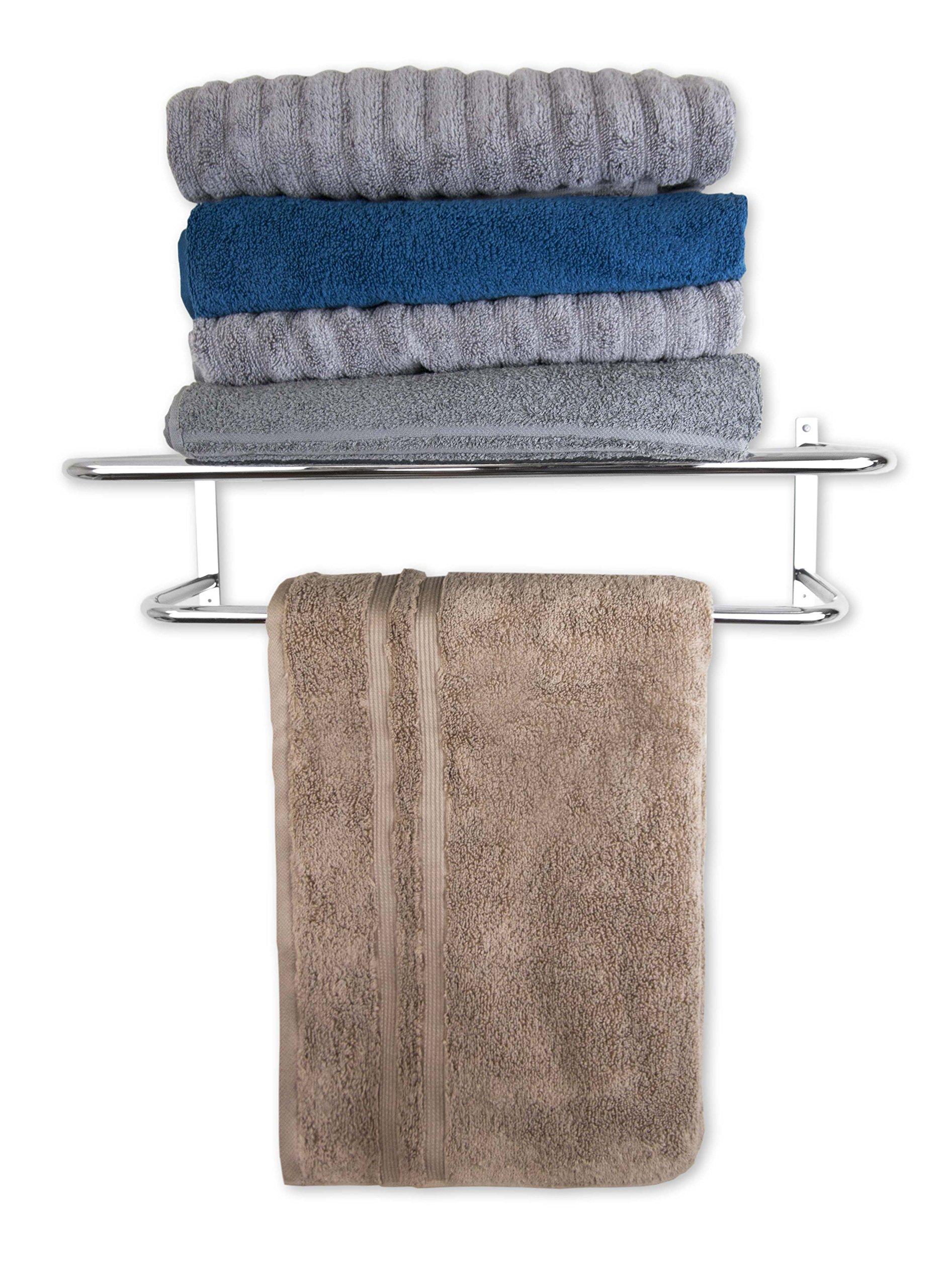 ome Basics 24 Inch Wall Mount Hotel Style Bathroom Shelf with Towel Bar Rack, Silver Chrome