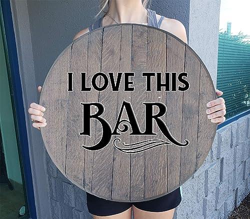 Barrel Head Sign I Love This Bar Retro Vintage Decor Bar Barnwood Gray 22 inch Wall Decor