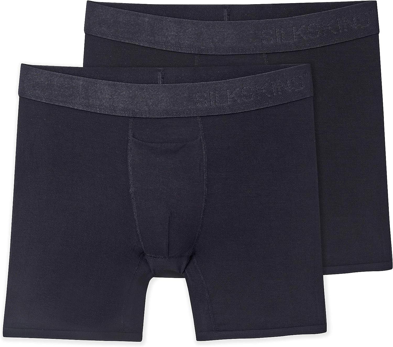 "Terramar Men's Silkskins 6"" Boxer Briefs, Black, 2 Pack"