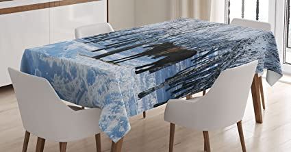 Ambesonne Equestrian Decor Tablecloth Horse Between Trees In Winter Forest Frozen Woods ICY Land Nature