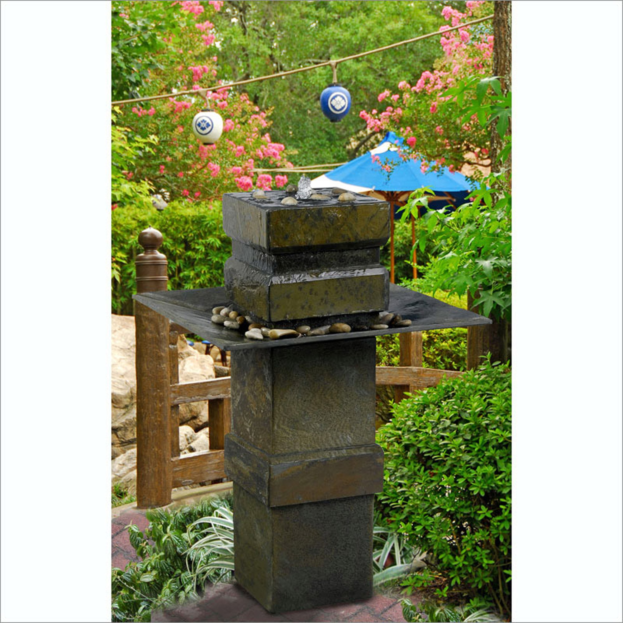 Kenroy Home Cubist Outdoor Floor Fountain in Natural Slate finish is 32.75'' high by Kenroy Home