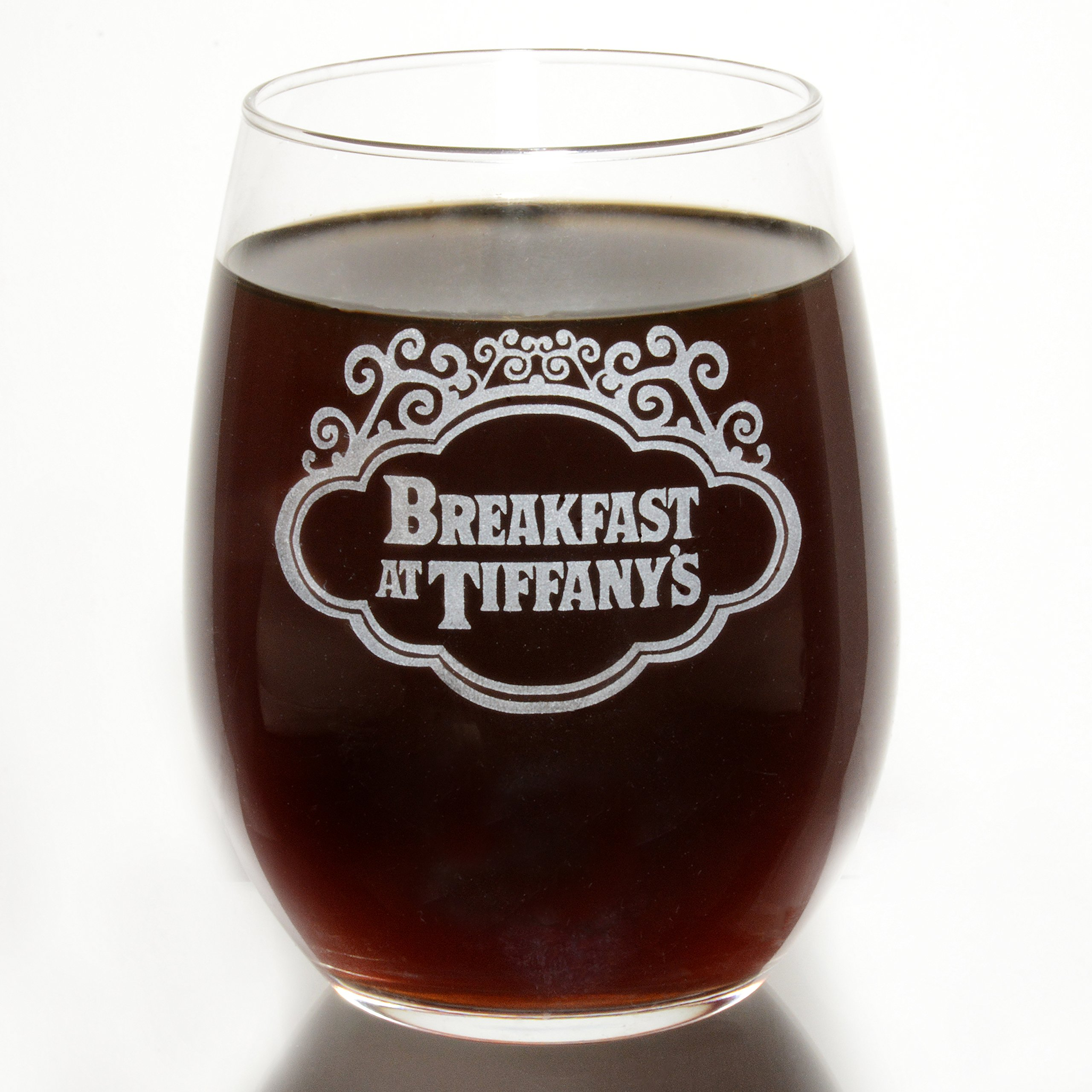 Breakfast at Tiffany's Etched Stemless Wine Glass Collectible Movie Gift